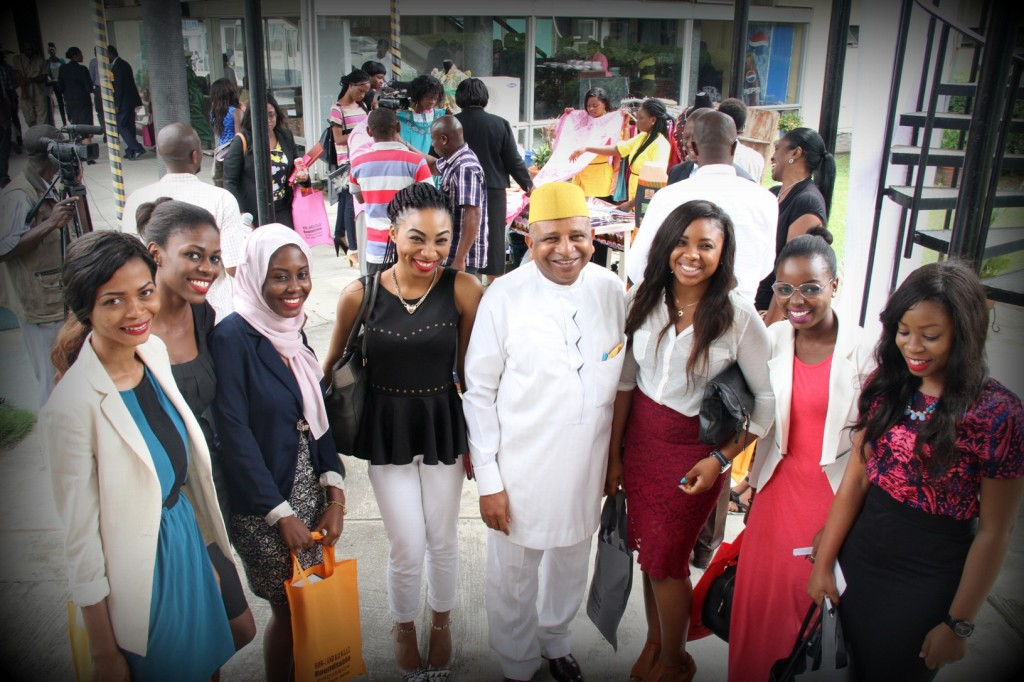 Chief Charles O. Anyiam-Osigwe with ROWEAD AMBASSADORS FROM UNIVERSITY OF LAGOS