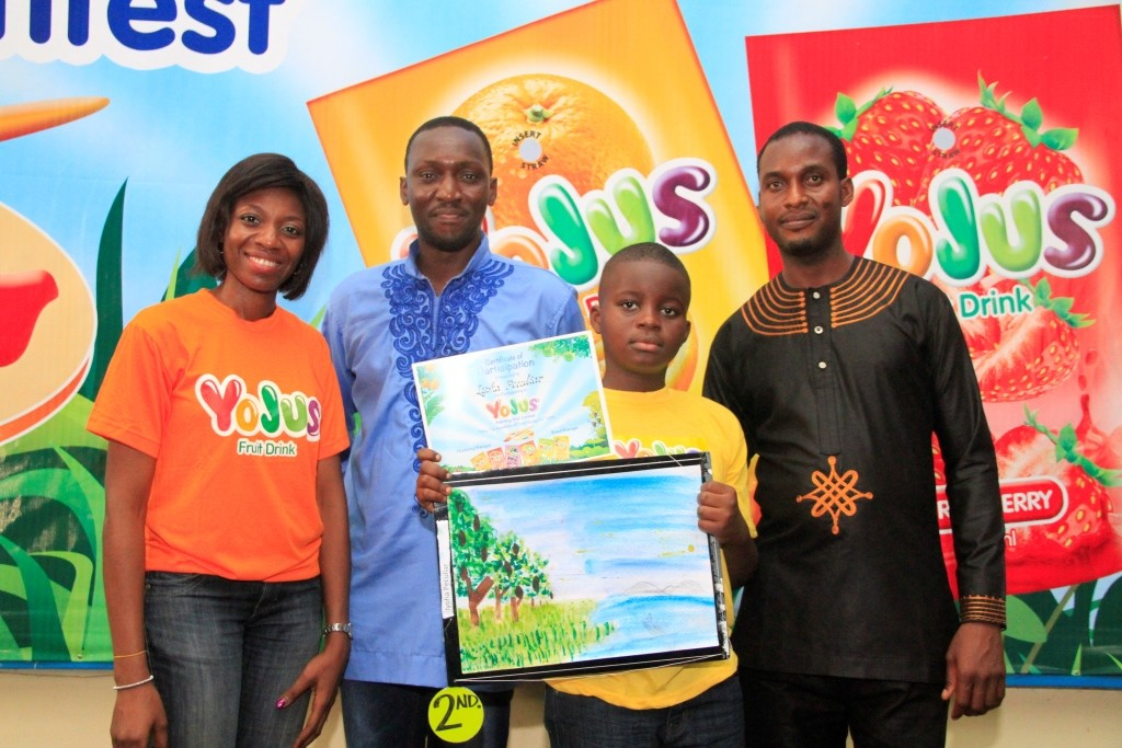 L-R: Brand Manager, Yojus Fruit Drink, Foluke Makinde, Art Educator, Ibrahim Ganiyu; Artist/Art Educator, Olaniyan Timothy with Second place winner Yojus painting contest , Iyoha Peculiar at 'Yojus Painting Star Contest', organized by Ranona, on Saturday, October 24, 2015, at the NAN Media Centre,  National Theatre Complex,  Iganmu, Lagos