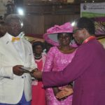 r-l Bishop of Lagos (Anglican Communion )Most Reverend Ephraim Ademowo ,Presenting award to Sir Clement Okeowo his wife Mrs Adejoke