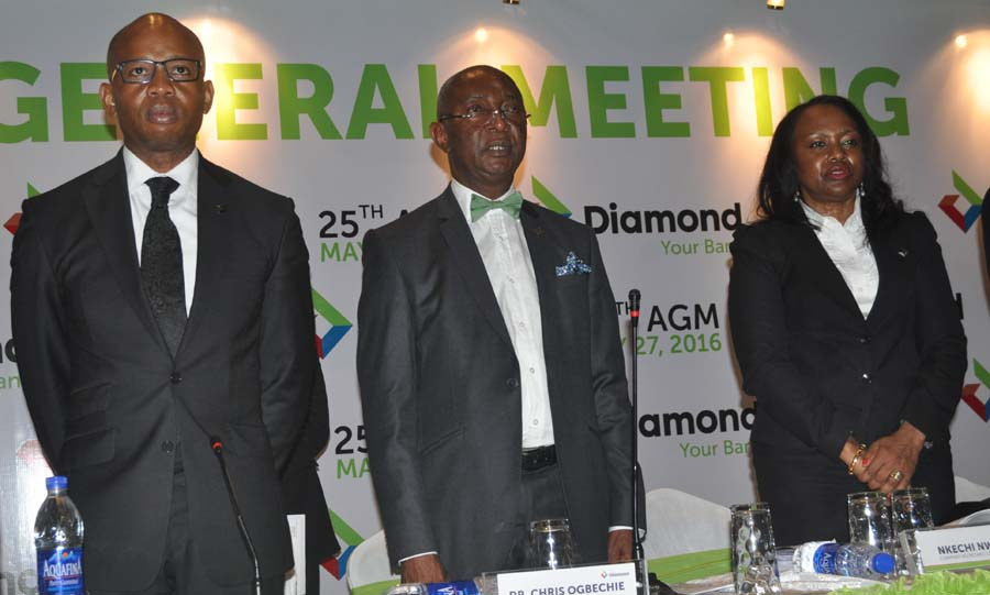 L-r Group MD/CEO Diamond Bank Plc Mr Uzoma Dozie, Chairman Board of Directors Dr Chris Ogbechie,and Company Secretary Nkechi Nwosu. at the 25th Annual General Meeting of Diamond Bank Plc in Lagos on Friday 27th May 2016 PHOTO CHINYERE IKEANYI