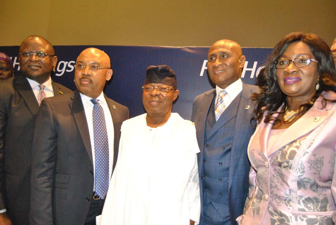 L-R: Managing Director/CEO, First Bank of Nigeria Limited ANF Subsidiaries, Mr. Adesola Adeduntan; Group Managing Director, FBN Holdings, Mr. Urum Kalu Eke, Chairman Board of Directors, Dr. Oba Otudeko, Company Secretary, Mr. Tijani Borodo and Non Executive Director, Mrs. Debola Osibogun; at the 4th Annual General Meeting of FBN Holdings at Eko Hotel, V/I Lagos. On Thursday 26/5/2016 PHOTO CHINYERE IKEANYI