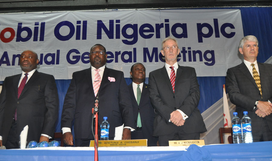 …(L-r)Company Secretary Mobil Oil Nigeria Plc Mr Emmanuel Amade, Chairman /MD Mr Adetunji Oyebanji, Mr Alastair Macnaughton,and Mr Michel Gouzerh both directors at the thirty eighth Annual General Meeting of the Company held in Lagos on Wednesday 25/5/2016 PHOTO CHINYERE IKEANYI
