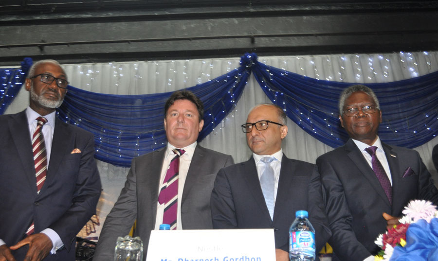 L-r,Mr Gbenga Oyebode, Mr Kais Marzouki both Non- Executive Director Nestle Nigeria Plc, Managing Director Mr Dharnesh Gordhon, Chairman Board of Directors of the Company Mr. David Ifezulike at the 47th Annual General Meeting of Nestle Nigeria Plc held at Muson Centre Onikan Lagos on Monday 23/5/2016. PHOTO CHINYERE IKEANYI