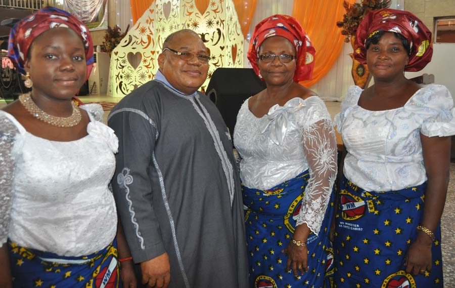 (L-r) Mrs Chioma Ossai, minister in Charge Assemblies of God Church Ikeja Rev Peter Agianpuye.his wife , Coordinator of (WM) Rev(Mrs) Dinah Agianpuye,and Mrs Christy Akinfesoye at the (WM)Celebration with them' Restoration of the total woman' held at the Church Premises in Lagos on Sunday 8/5/2015