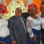 L-r President Women's Ministry (WM) Assemblies of God Church Ikeja Mrs Olohigbe Ukadike, minister in Charge of the Church Rev Peter Agianpuye his wife , Coordinator of (WM) Rev(Mrs) Dinah Agianpuye and Secretary Mrs Florence Afolabi at the (WM)Celebration with them' Restoration of the total woman' held at the Church Premises in Lagos on Sunday 8/5/2015.