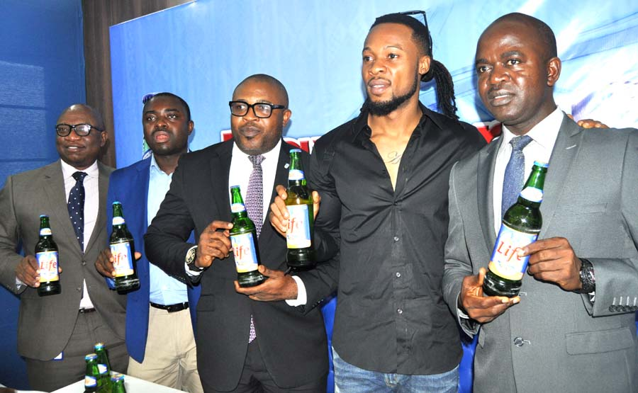 L-R –Manager Corporate Communications Nigerian Breweries Plc Mr Patrick Olowokere, Senior Brand Manager Regional Mainstream Brands Mr Funso Ayeni, Corporate Affairs Adviser (NB ) Mr Kufre Ekanem, Life Continental Lager Beer Ambassador Mr Flavour N'abania, Portfolio Manager-Mainstream and Stout NB Plc Mr Emmanuel Agu
