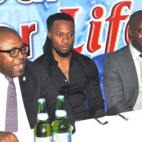 (L-r)Corporate Affairs Adviser Nigerian Breweries Plc (NB ) Mr Kufre Ekanem, Life Continental Lager Beer Ambassador Mr Flavour N'abania, Portfolio Manager-Mainstream and Stout NB Plc Mr Emmanuel Agu