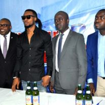 (L-r) Ceo at Upfront & Personal Global Management Consultants Mr Paul Okoye,Corporate Affairs Adviser Nigerian Breweries Plc (NB ) Mr Kufre Ekanem, Life Continental Lager Beer Ambassador Mr Flavour N'abania, Portfolio Manager-Mainstream and Stout NB Plc Mr Emmanuel Agu ,and Senior Brand Manager Regional Mainstream Brands Mr Funso Ayeni