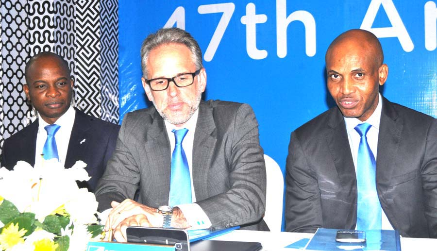 ..L-r Executive Director and Head of Commercial Banking Union Bank of Nigeria Plc Mr Adekunle Sonola ,Non Executive Director Mr John Vitalo, and Executive Director Corporate and Investment Banking Mr Emeka Okonkwo at the 47th Annual General Meeting of Union Bank of Nigeria Plc held in Lagos on Thursday 2nd June 2016 PHOTO CHINYERE IKEANYI